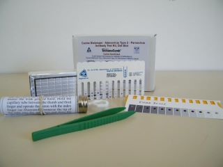 Kit includes supplies for 12 tests that can be administered individually: special 12 toothed Comb, developing plate, plunger, tongs, and quantitative scale for measuring results. Product is self contained and has a shelf life of 1 year. VacciCheck® can only be ordered by a licensed veterinary clinic, rescue, shelter or boarding facility under a veterinarian's supervision.
